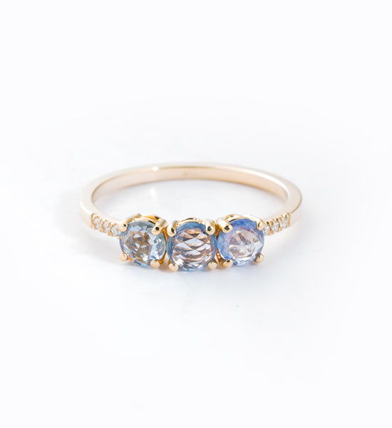 Rose Cut Sapphire Equilibrium Cuff Ring: Front