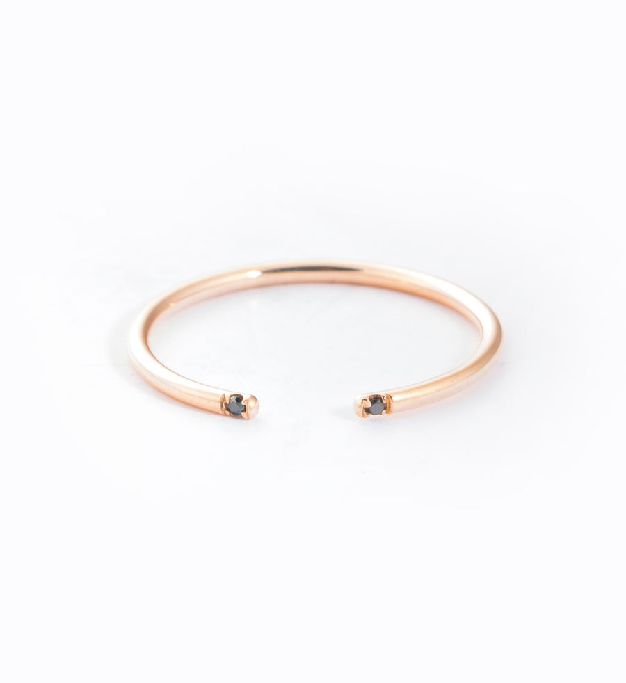 Rose Gold/Black 2 Diamond Cuff Ring: Front
