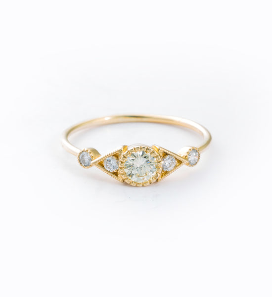 Diamond Duo Deco Spear Ring: Front