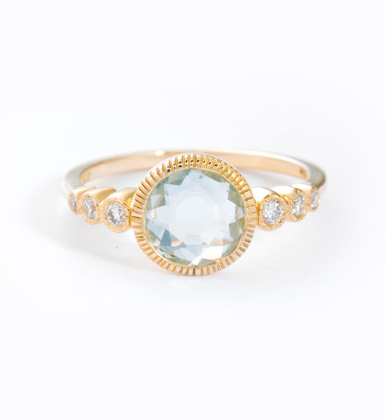 Aquamarine & White Diamond Aurora Ring: Frong