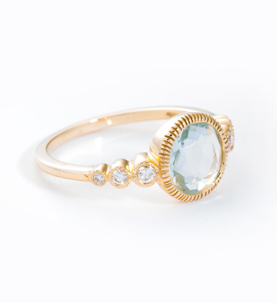 Aquamarine & White Diamond Aurora Ring: Angle