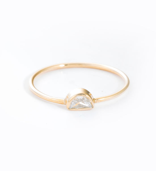 Half Moon Diamond Ring: Front