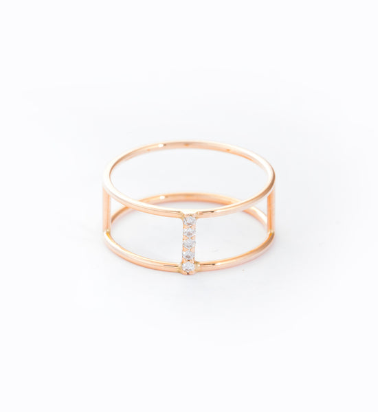 Rose Gold Diamond Pavé Short Corset Ring: Front