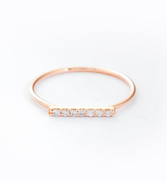 Rose Gold 7 Diamond Tiny Pavé Bar Ring: Front