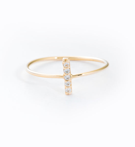 Diamond Pavé Staple Ring: Front