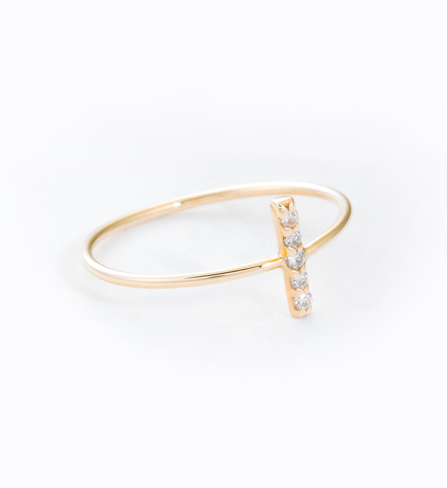 Diamond Pavé Staple Ring: Angle