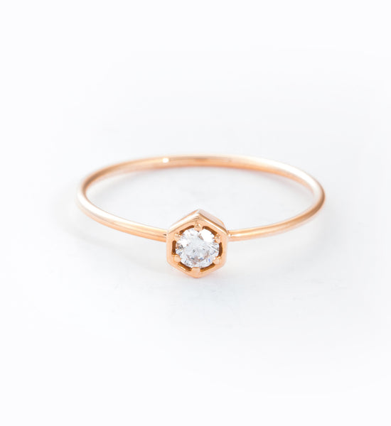 Lily Hexagon Ring: Front