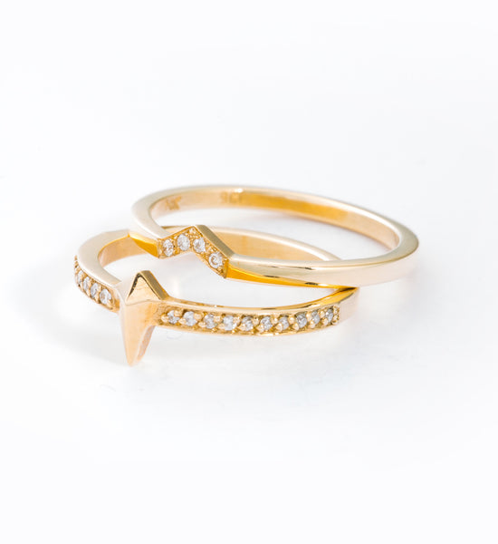 Diamond Arrow Band: Paired with Pointed Eternity Ring