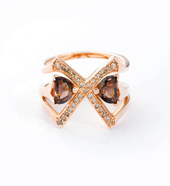 Rose Gold Visible Crescent Ring Set: Front