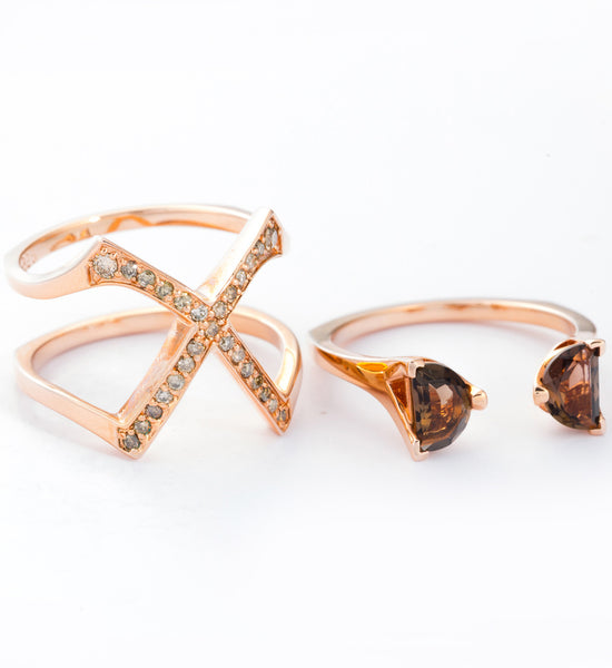 Rose Gold Visible Crescent Ring Set: Separate