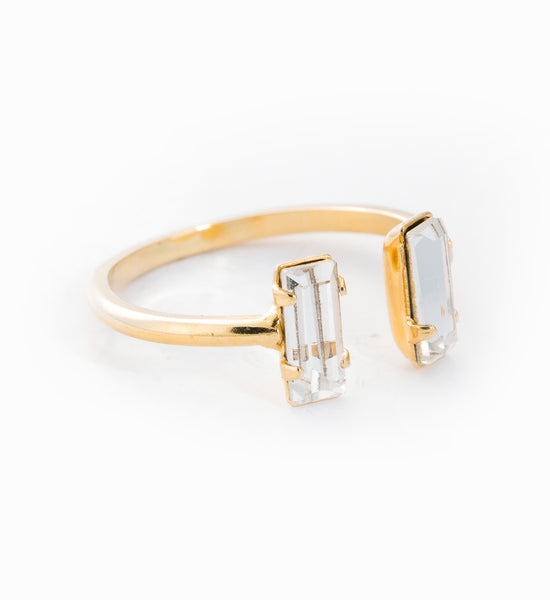 Gold Double Baguette Ring: Angle