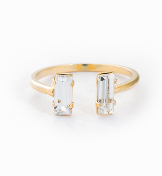 Gold Double Baguette Ring: Front
