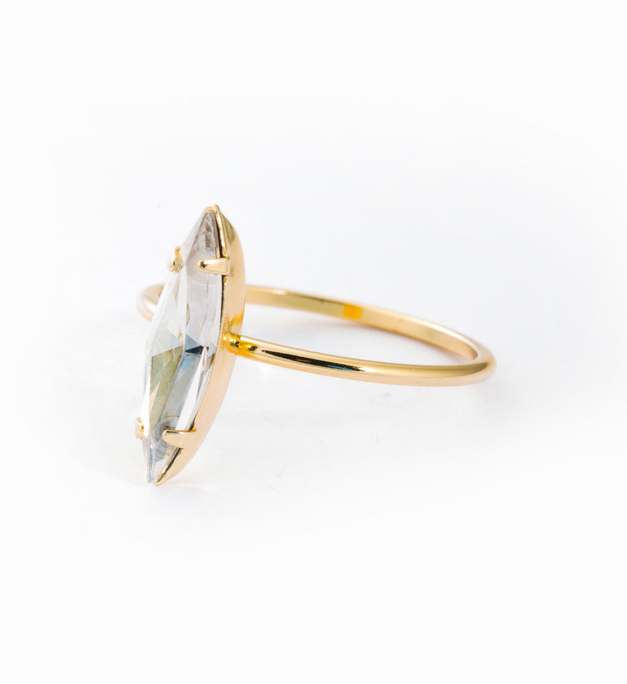 Gold Vermeil Crystal Shard Ring: Angle