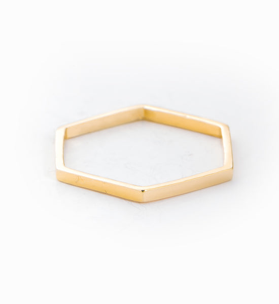 Gold Vermeil Thin Hex Ring