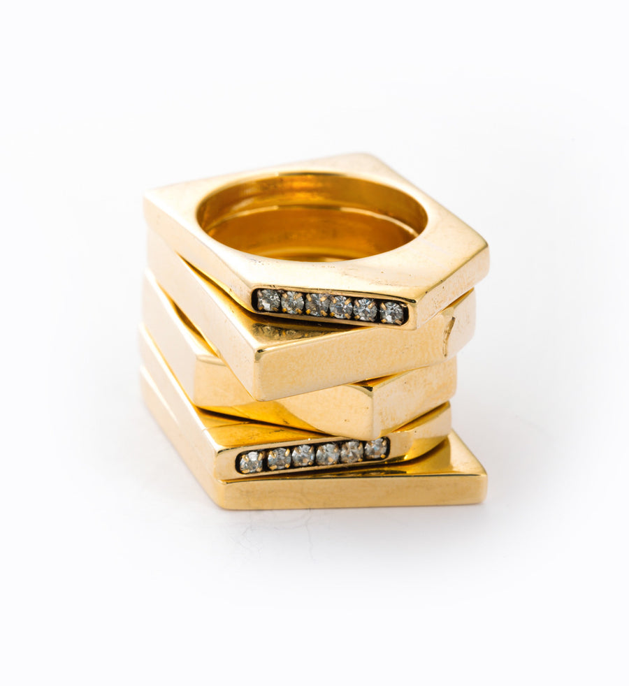 Chunky Geometric Ring Set: Stacked