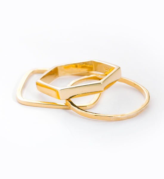Gold Geometric Ring Set