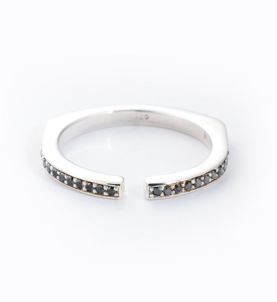 Black Diamond Pavé Split Ring: Front