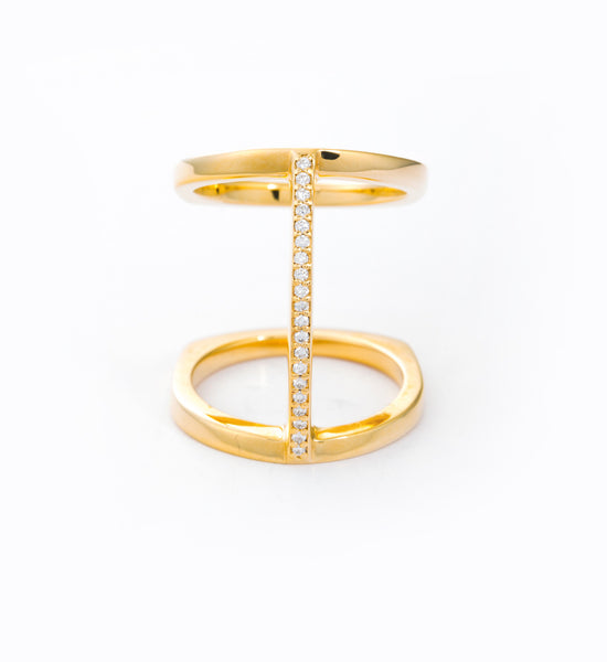 Diamond Pavé Bridge Ring: Front