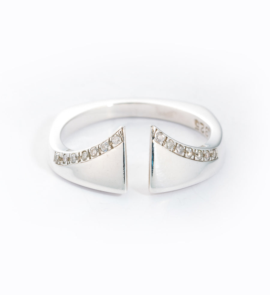 Silver Diamond Pavé Nuance Ring: Front