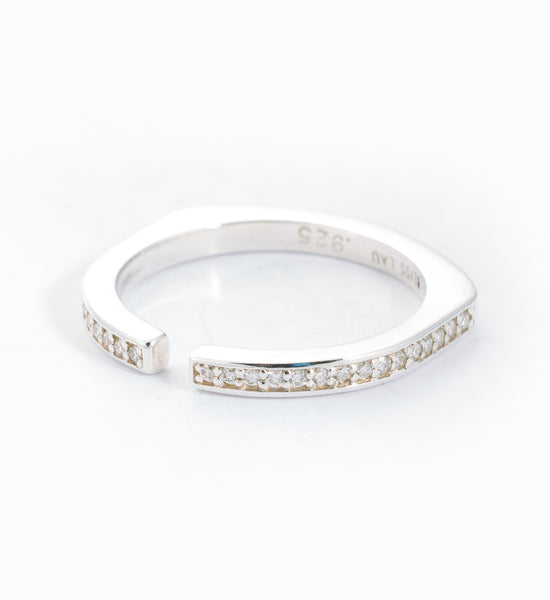 White Diamond Pavé Split Ring: Angle