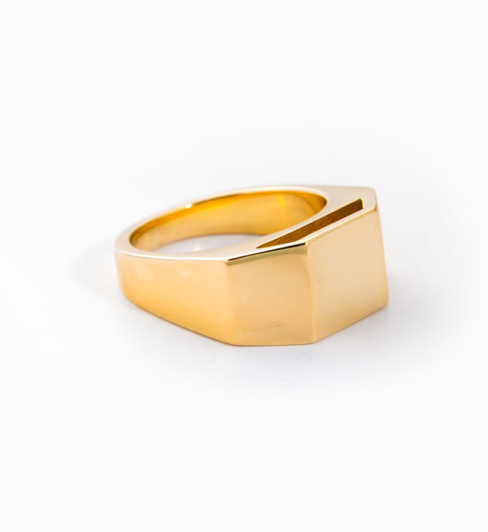 Gold Cut Out Pedestal Ring: Angle