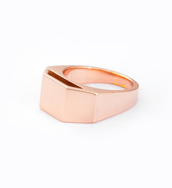 Rose Gold Cut Out Pedestal Ring: Angle