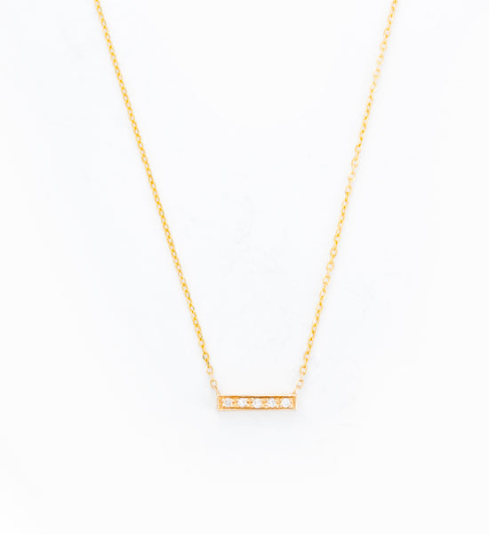 Gold 5 Diamond Tiny Pavé Bar Necklace