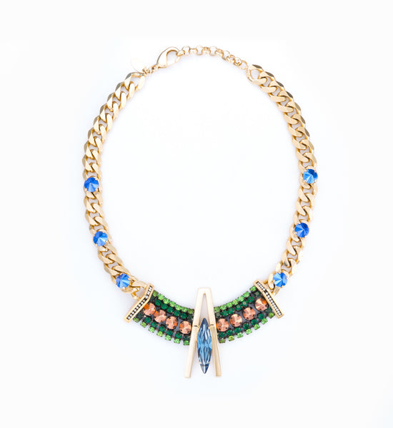 Geometric Bib Curb Link Necklace