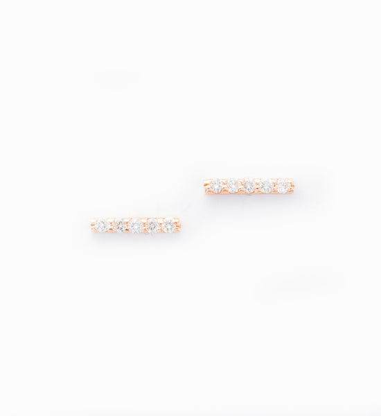 Rose Gold 5 Diamond Tiny Pavé Bar Stud Earrings