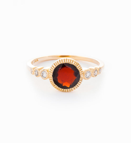 Garnet & White Diamond Aurora Ring: Front