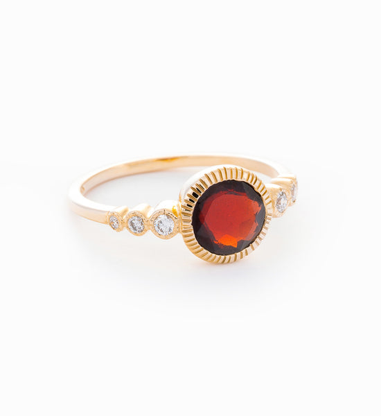 Garnet & White Diamond Aurora Ring: Angle