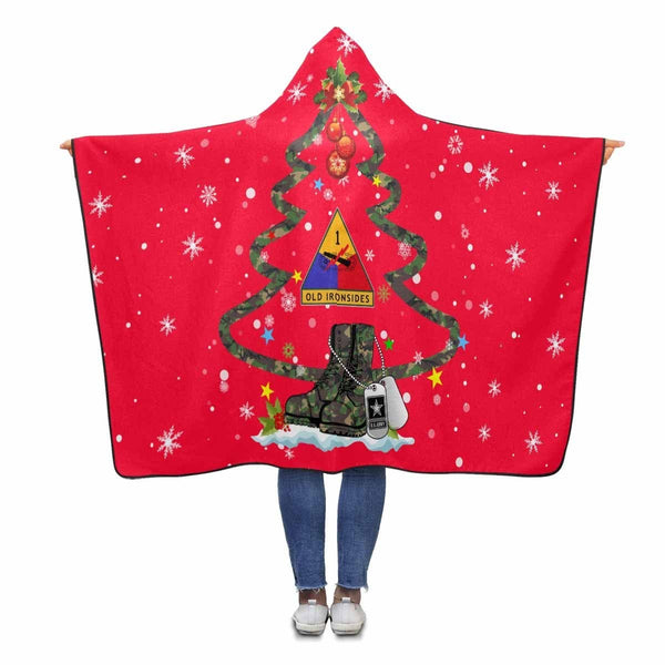 US Army 1st Armored Division - Christmas Hooded Blanket