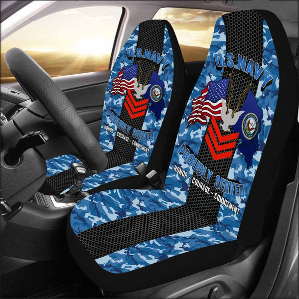US Navy E-6 Petty Officer First Class E6 PO1 Collar Device Car Seat Covers (Set of 2)