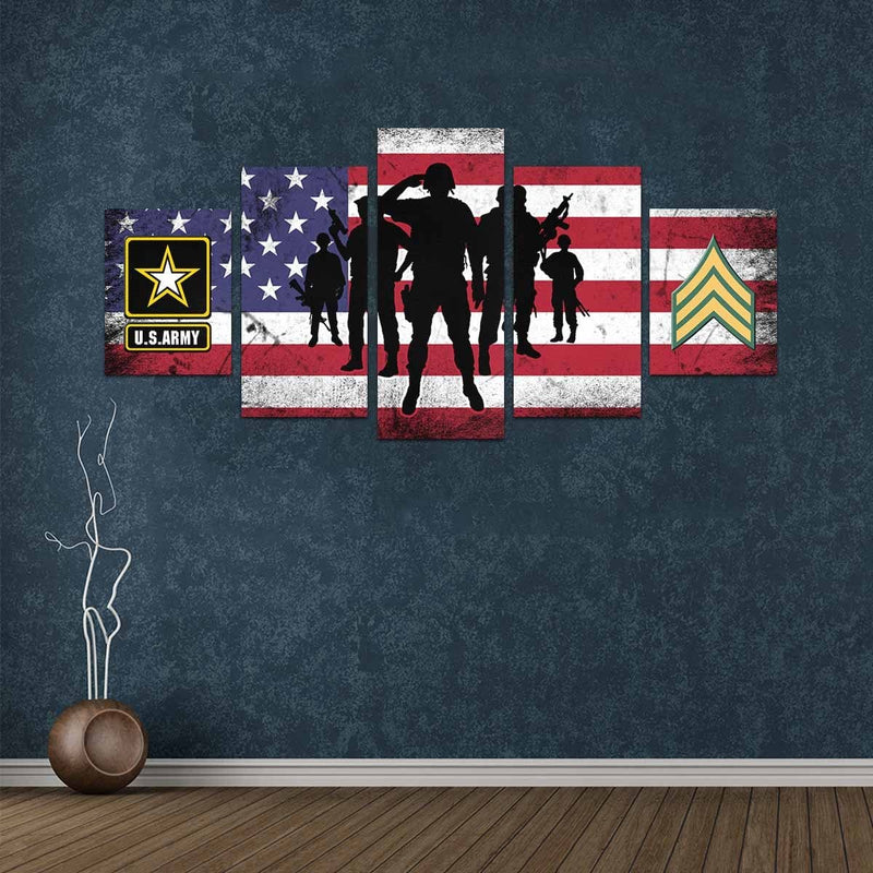 US Army E-5 Sergeant E5 SGT Noncommissioned Officer  Canvas Art Prints Set Z (5 Pieces) (Made In USA)