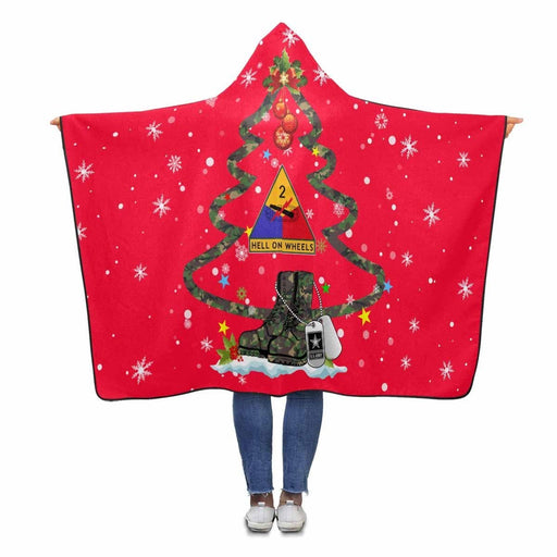 :US Army 2nd Armored Division - Christmas Hooded Blanket
