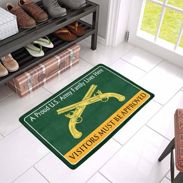 U.S. Army Military Police Corps Family Doormat - Visitors must be approved Doormat (23.6 inches x 15.7 inches)