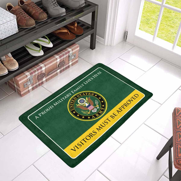 Proud Military Family Army Doormat - Visitors must be approved