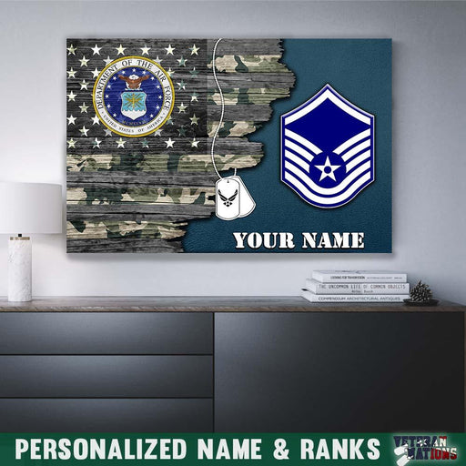 Personalized Canvas - U.S. Air Force Ranks - Personalized Name & Ranks