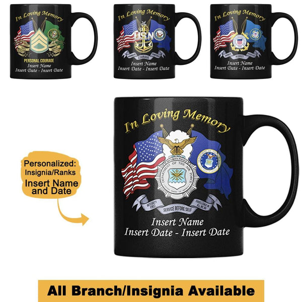 """ In Loving Memory "" Military Insignia Black Mug - Personalized Name and Date"