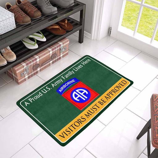 US Army 82nd Airborne Family Doormat - Visitors must be approved (23,6 inches x 15,7 inches)