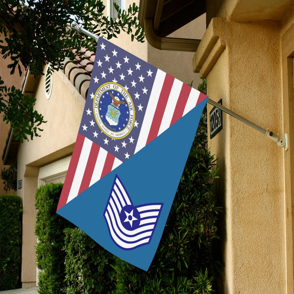 US Air Force E-7 Old Style House Flag 28 inches x 40 inches Twin-Side Printing