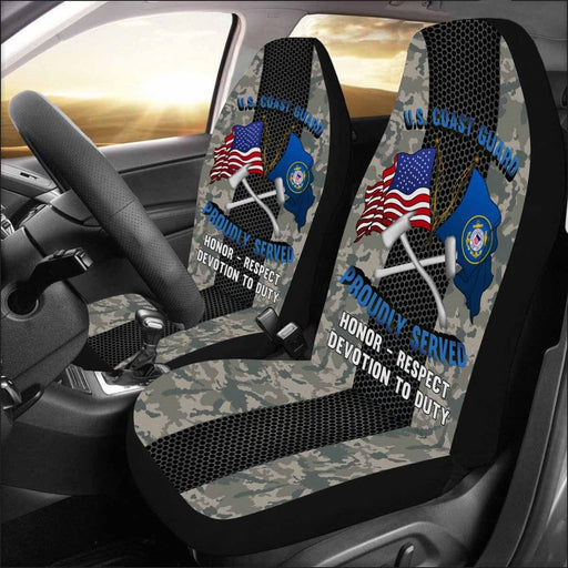US Coast Guard Damage Controlman DC Logo Proudly Served - Car Seat Covers (Set of 2)