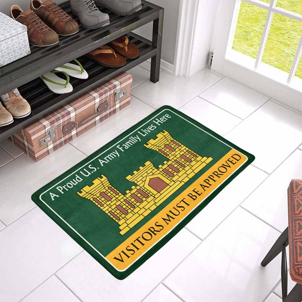 U.S. Army Corps of Engineers Family Doormat - Visitors must be approved Doormat (23.6 inches x 15.7 inches)