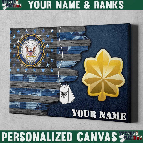 Personalized Canvas - U.S. Navy Officer - Personalized Name & Ranks