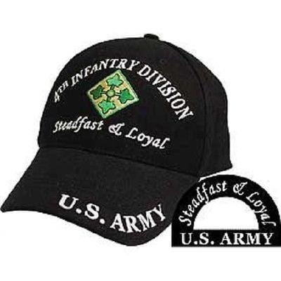 df12e13b09e U.S. Army 4th Infantry Division Steadfast   Loyal Black 3D Embroidered Cap  Hat