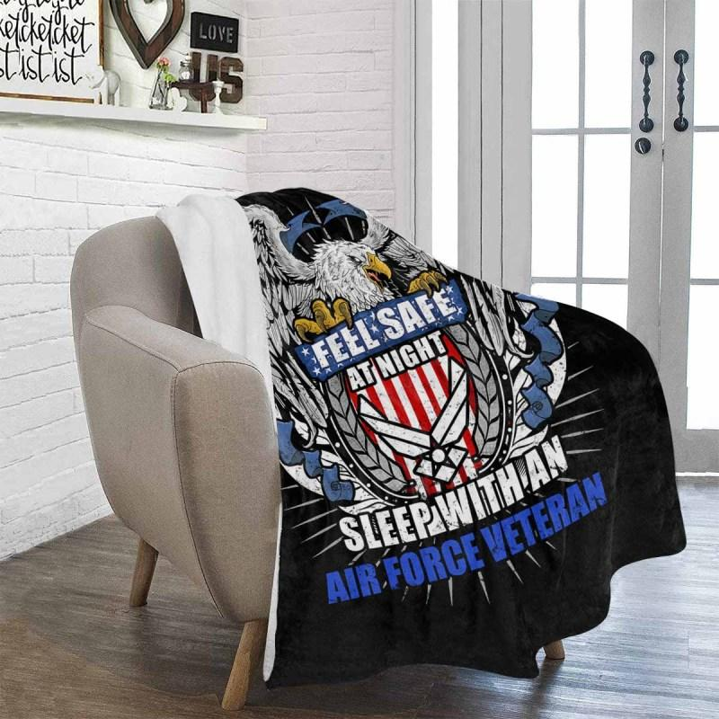 Feel Safe At Night Sleep With An Air Force Veteran Sherpa Blanket - 50x60