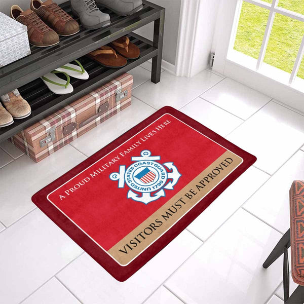 Proud Military Family USCG Doormat - Visitors must be approved