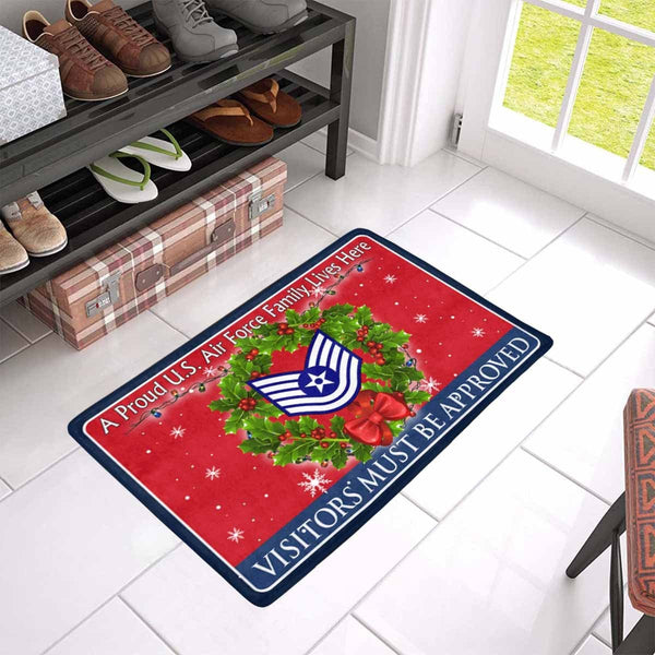 US Air Force E-6 Technical Sergeant TSgt E6 Noncommissioned Officer Ranks AF Rank - Visitors must be approved - Christmas Doormat