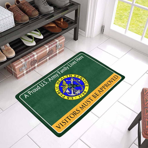 US Army Public Health Service Family Doormat - Visitors must be approved Doormat (23.6 inches x 15.7 inches)