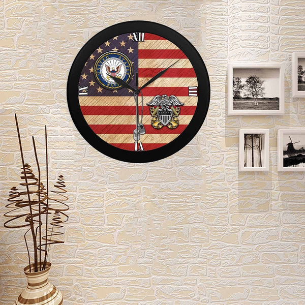 US Navy Officer Cap Device Wall Clock